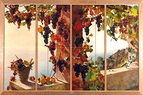 View from the window grape vine sea by RUTH MERCIER Tile Mural Kitchen Bathroom Wall Backsplash Behind Stove Range Sink Splashback 3x2 12'' Ceramic, Matte by FlekmanArt