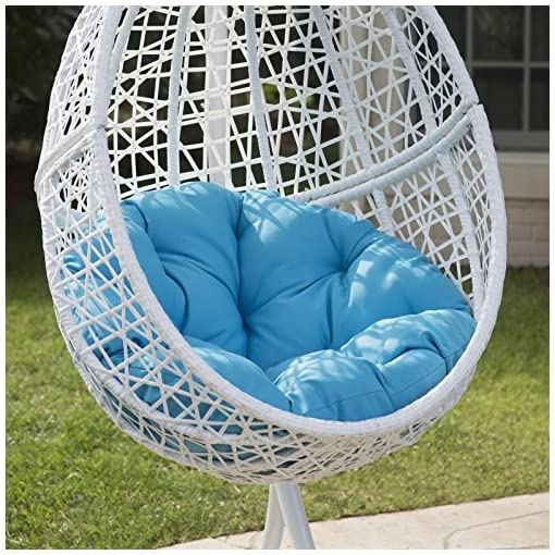 White Resin Wicker Hanging Egg Chair W Stand Outdoor Patio Includes Blue Cushion Beachfront Decor