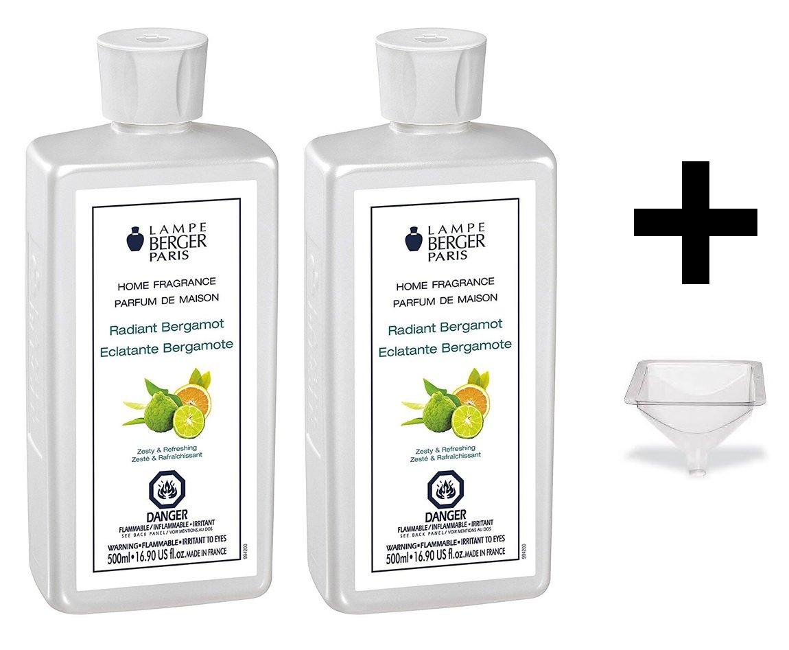 Lampe Berger Fragrance - Radiant bergamot - 500ml/16.9 fl.oz. 2 Pack with FREE Funnel