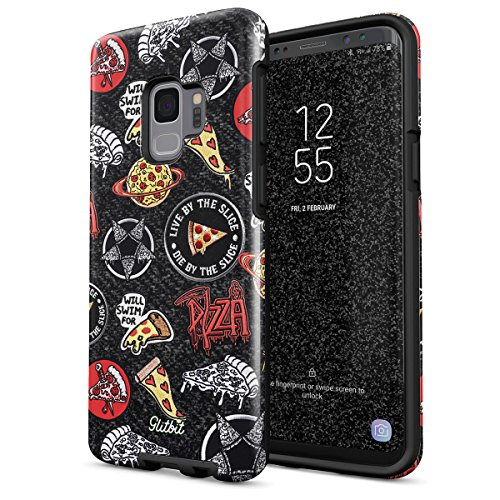 Glitbit Compatible with Samsung Galaxy S9 Case Pizza Slice Food Patches Pattern Embroidery in Crust We Trust Food Addict Junk Fast Food Shockproof Dual Layer Hard Shell + Silicone Protective Cover