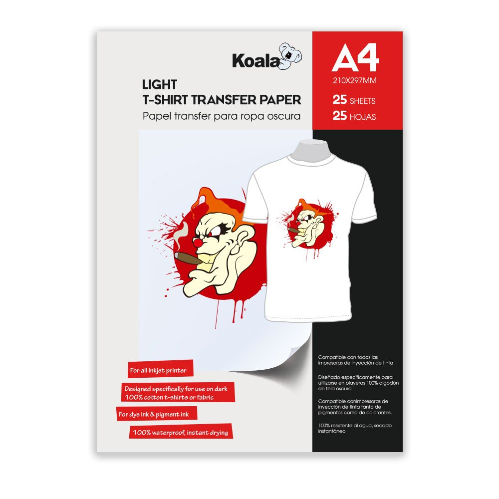 KOALA Inkjet Iron On T Shirt Transfer Paper For Light Fabrics x 25 Sheets, A4