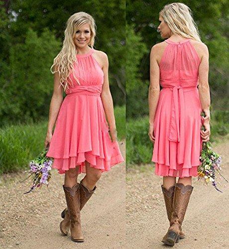 Neck AK Pink Mint Halter Hot Wedding Bridesmaid Party Short Beauty Gown Sleeveless Dresses Chiffon fxqCT