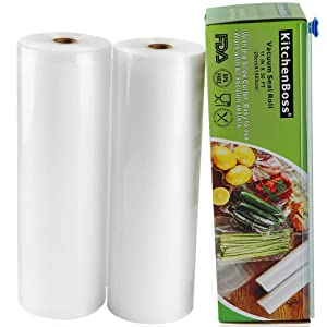 "Vacuum Sealer Rolls with Cutter Box 2 Pack 11""x50' KitchenBoss Commercial Grade Bag Rolls for Food Saver and Sous Vide (Total 100 feet)"