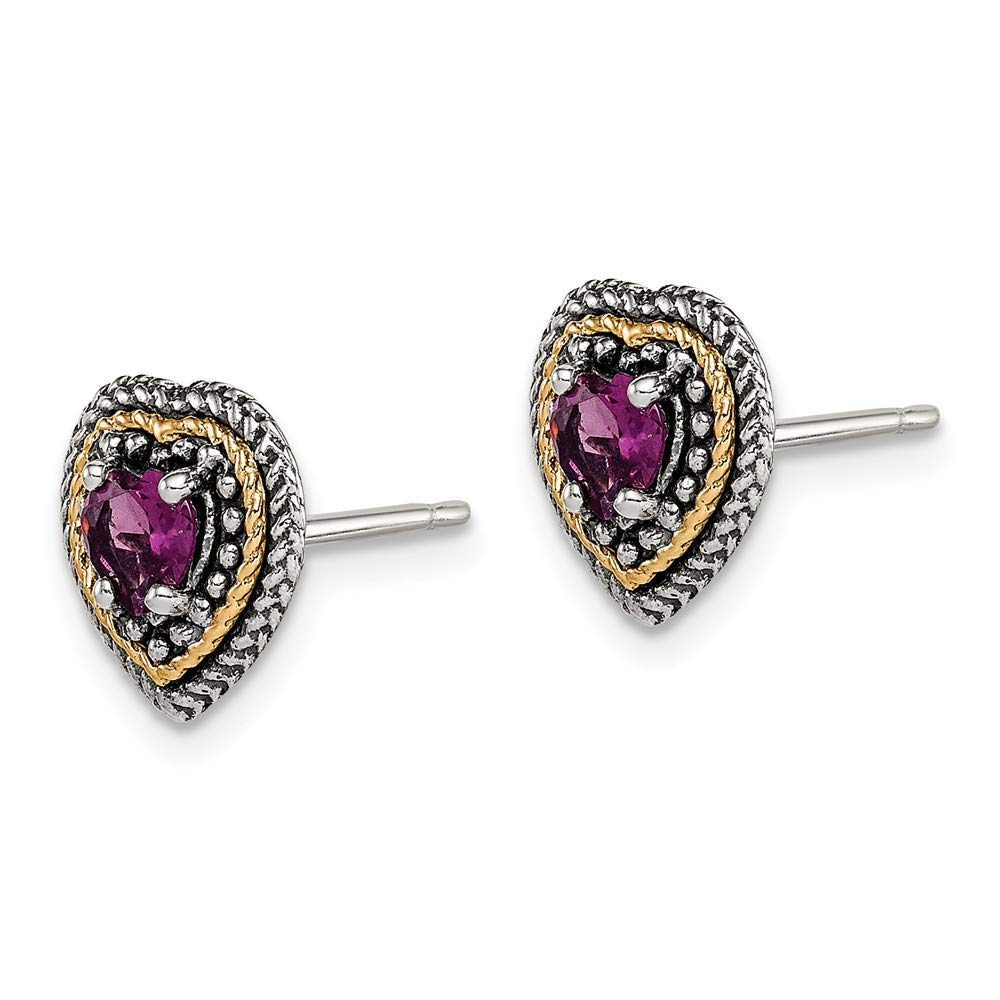 925 Sterling Silver 14k Accent Rhodolite Red Garnet Heart Post Stud Earrings Love Gemstone Fine Jewelry Gifts For Women For Her