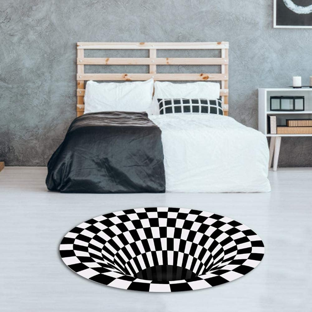 Rug for Bedroom Durbale, Round Rug for Living Room, Circle Meditation Rug Anti-Slip , Floor Carpets Non-Woven, Kids Playing Mat , Black White Doormat for Bedroom Living Room Home Decorate