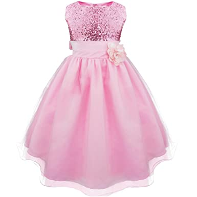 3d209af6f49 iiniim Fille Paillettes Robe Tulle Cérémonie avec Fleur Habillé Robes  Demoiselle d honneur Pink 3
