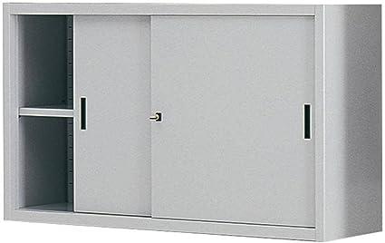Armario para almacenaje (Metal, 1 Compartimiento Y 2 Puertas Correderas, Mis. 1500 L x 450 P X 900 h mm, cerradura de cilindro con llave: Amazon.es: Oficina y papelería