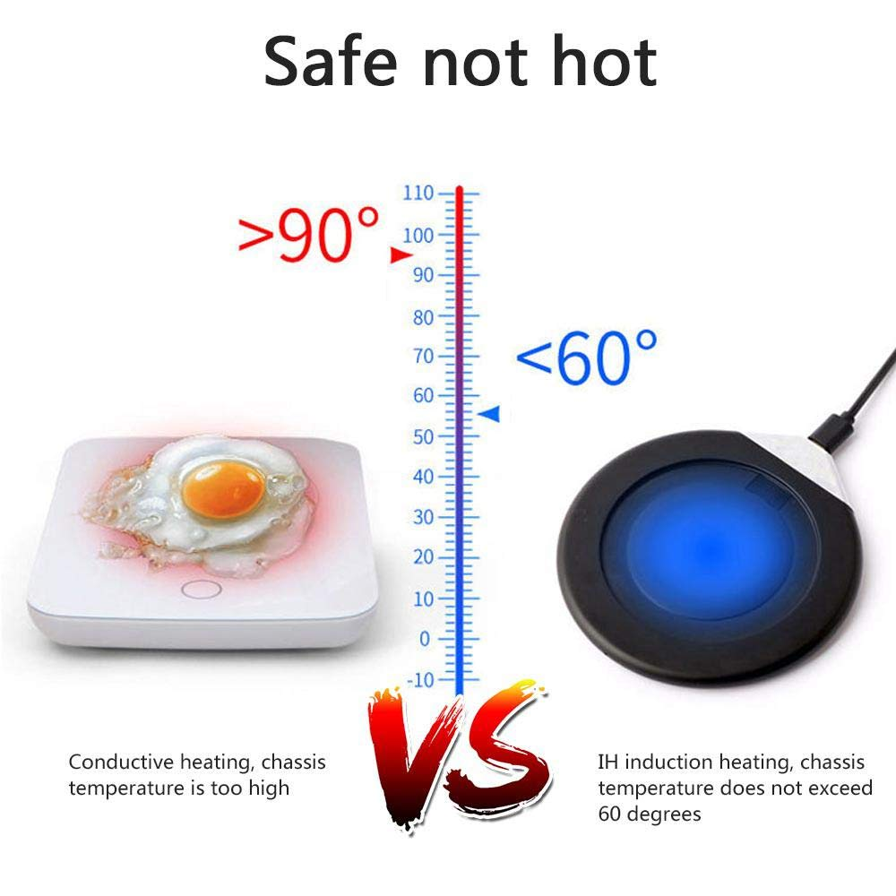 55 Degree Mug Warmer 2 in 1 Volwco Coffee Mug Warmer with Wireless Charger Wireless Charging Intelligent Constant Temperature Warming Cup Ceramics Mug