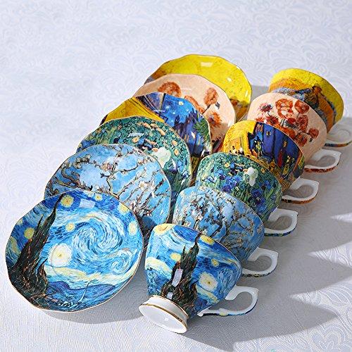 Vincent Van Gogh Bone China Tea Cup and Saucer Set With Gift Box, 8-Ounce Art Coffee Mugs Set (Set of 6) by Yosou Home (Image #4)