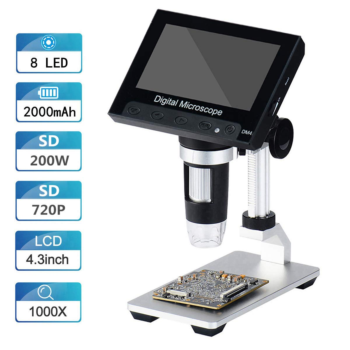4.3 inch 50X-1000X Magnification Zoom HD 1080P 5 Megapixels Compound 2000 mAh Battery USB Microscope 8 Adjustable LED Light Video Camera Microscope Vilihy LCD Digital Microscope