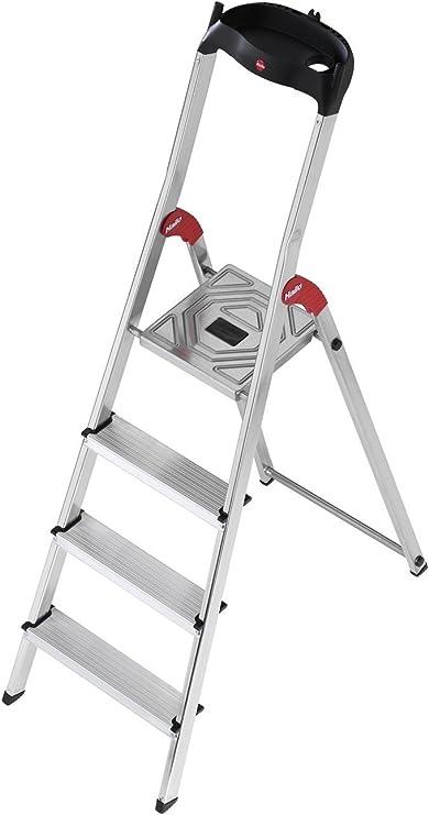 Hailo L60 - Escalera doméstica de aluminio, bandeja multifuncional, gancho para cubo y pinza para cable (4 peldaños): Amazon.es: Bricolaje y herramientas