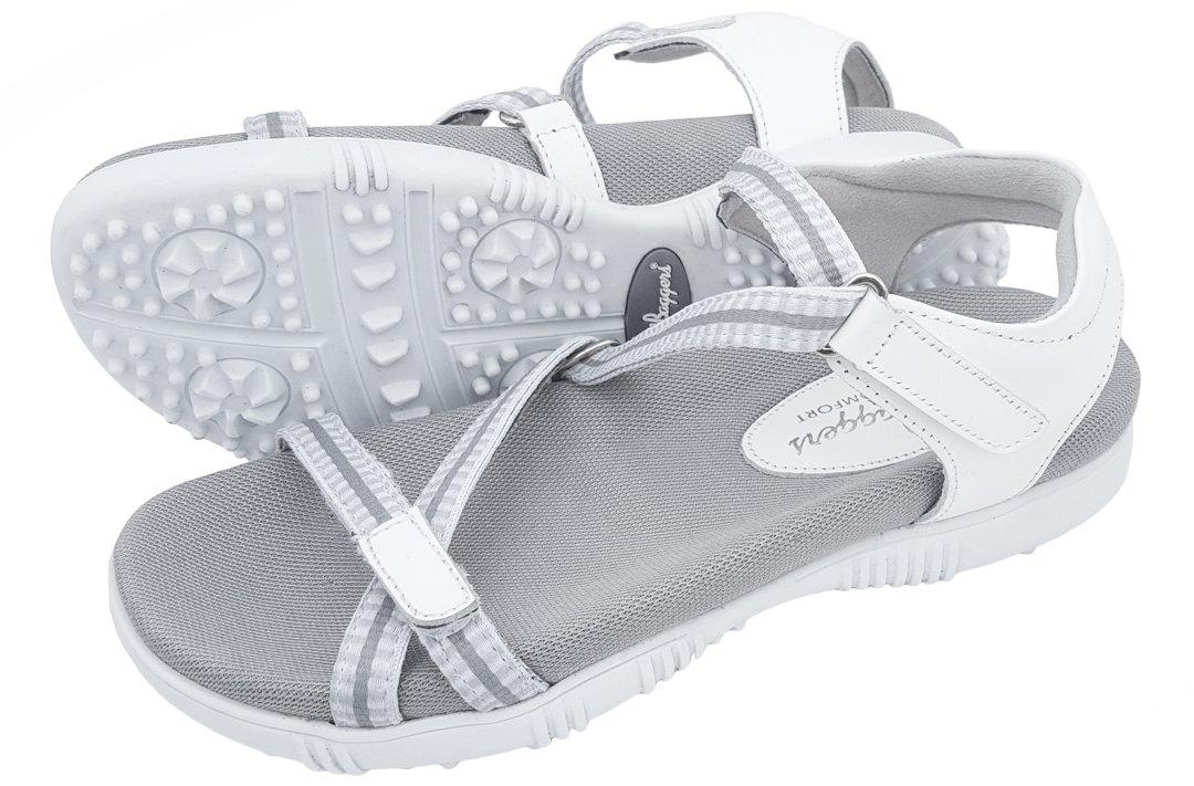 Sandbaggers Galia Women's Golf Sandals (8, White) by Sandbaggers