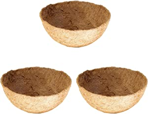 Owevvin 3 Pack Round Replacement Coco Liner, 10 Inches Coconut Fiber Plant Basket Liner for Hanging Basket, Garden Planter Flower Pot (10 Inches)