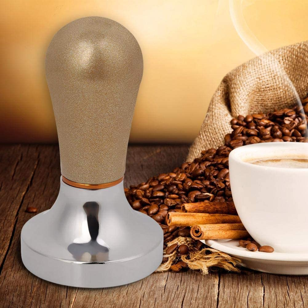 Gold Flache Espresso Tamper Machine Kaffeebohne Presswerkzeug f/ür Kaffeemaschine Duokon 57mm Aluminium Kaffee Tamper mit Griff