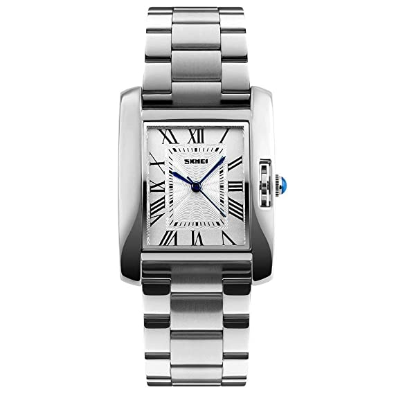 Tayhot - Reloj de pulsera analógico de cuarzo rectangular de acero inoxidable, esfera cuadrada plateada, resistente al agua, lujoso, casual, para mujeres y ...