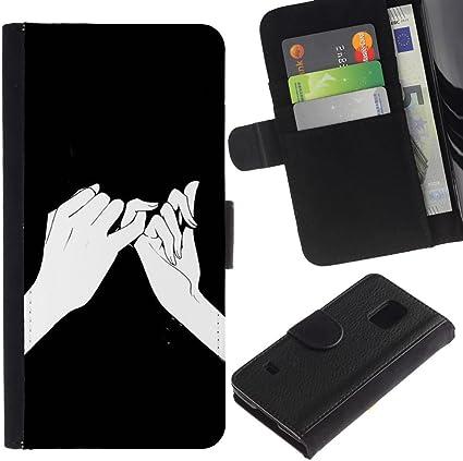 Significado Manos Dibujo Tinta Negro- la tarjeta de Crédito Slots PU Funda de cuero Monedero caso cubierta de piel Para Samsung Galaxy S5 V SM-G900: Amazon.es: Electrónica