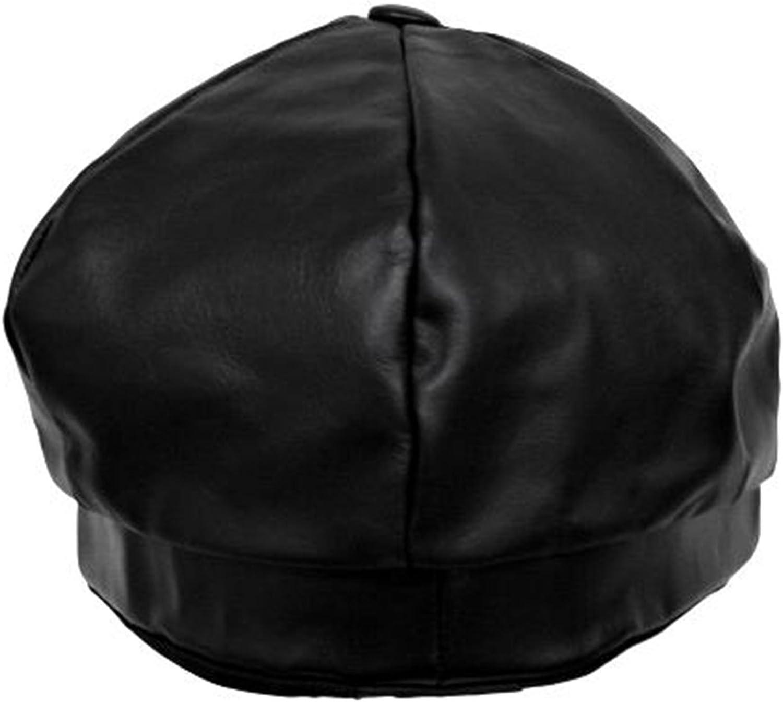 Luxury Divas Genuine Leather 6 Panel Newsboy Cap Hat