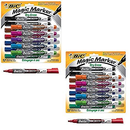 BIC Magic Marker Dry Erase Marker, Fine Bullet Tip, Assorted Colors, 12-Count, Pack of -