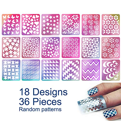 TailaiMei 36 Pieces 18 Designs Nail Vinyls Stencil Sticker Set for Nail Art Decal, 6 Sheets Reusable DIY Hollow Nail Art Supplies