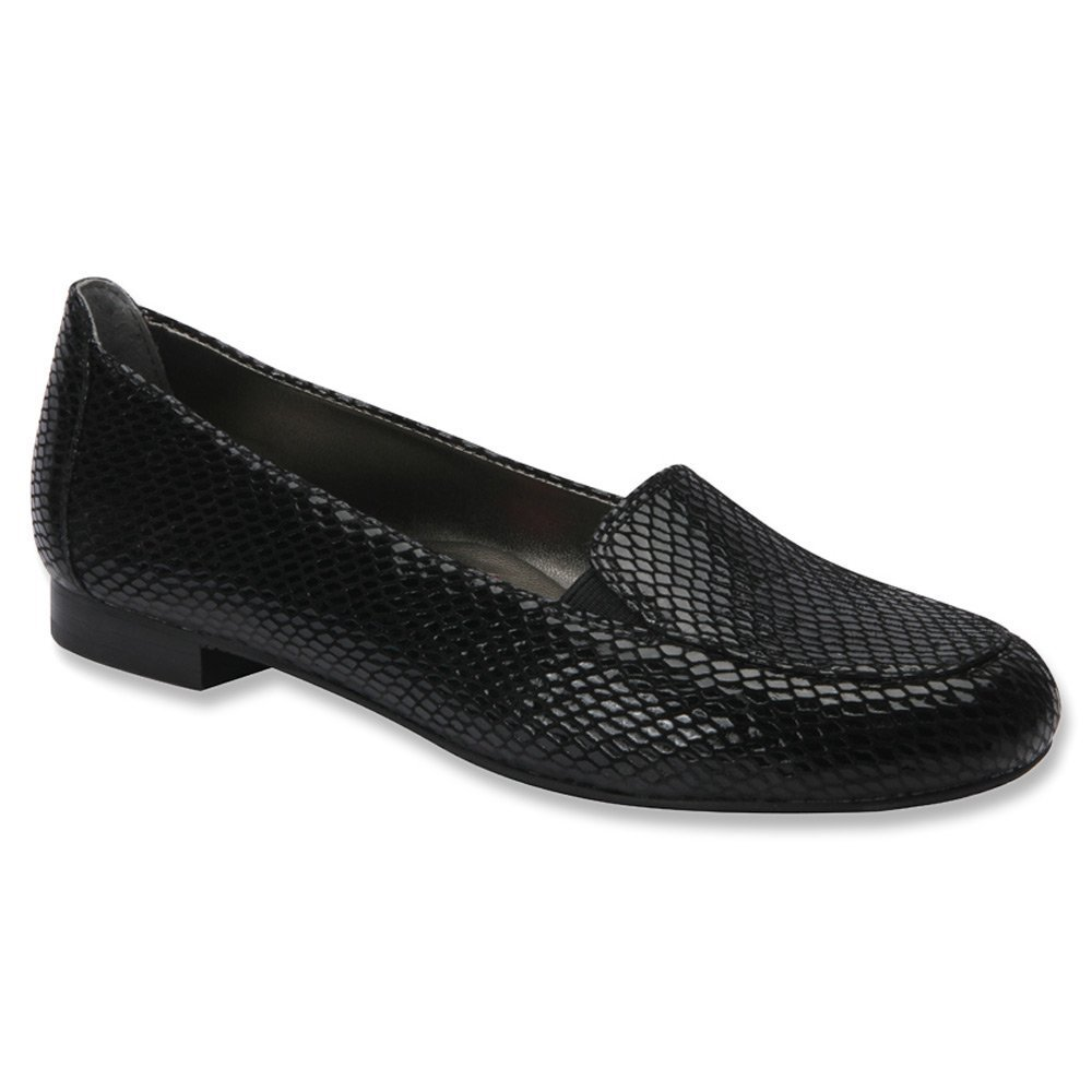 Ros Hommerson Regan Women W Round Toe Leather Loafer B00UW6I4XM 6.5 W US|Black Snake Print