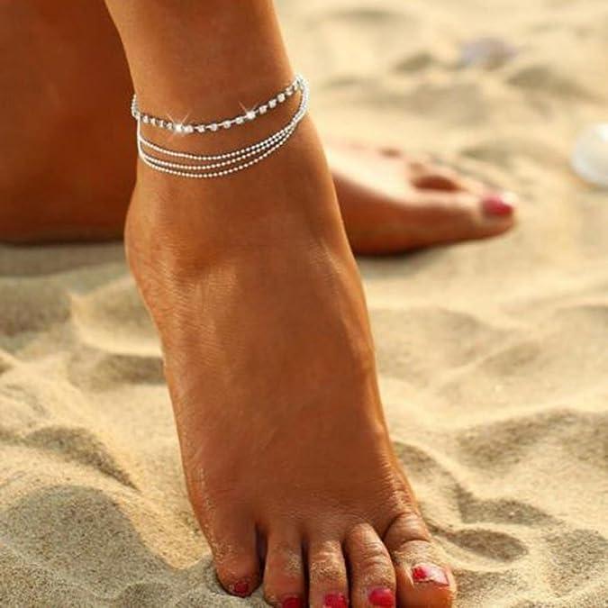 Cavigliere Donna Mecohe Multi Strato Cristallo dargento Elegante Anklet Catena del Piede Foot Gioielli