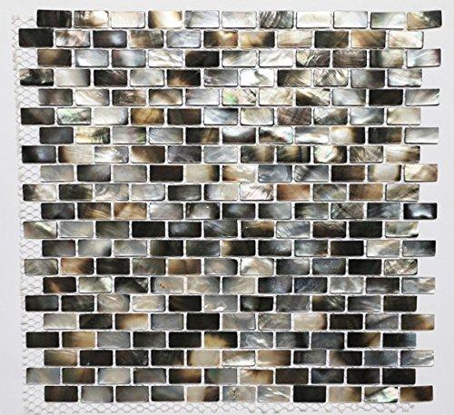 AFSJ Genuine Seashell Black Subway Mother of Pearl Mosaic Tile For Bathroom/Kitchen/Spa Backsplash(Pack of 5)