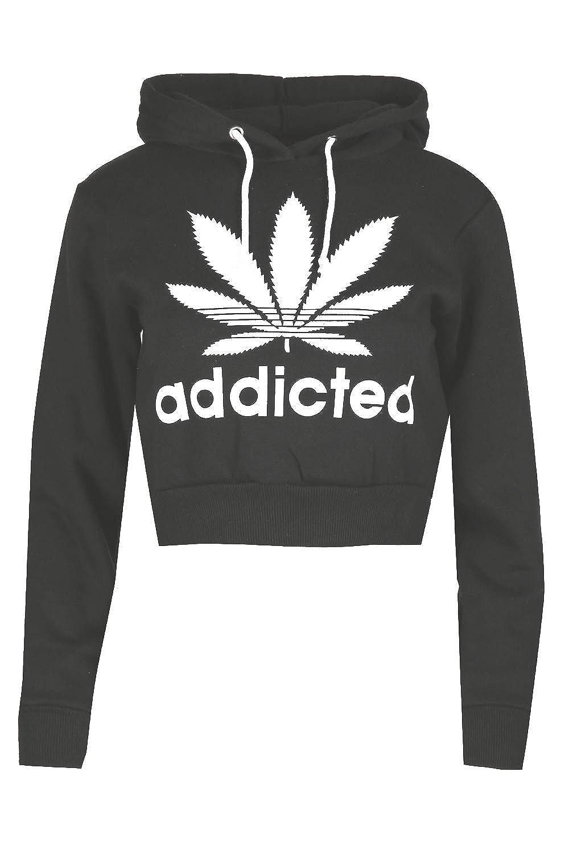 Oops Outlet Ladies Fleece Sweatshirt Crop Addicted Hooded Jumper ...