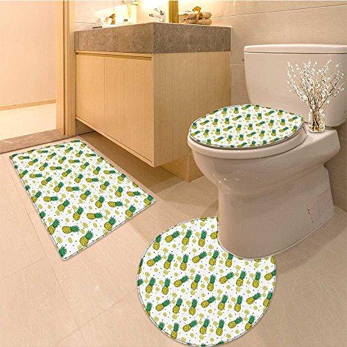 3 Piece large Contour Mat set Collection Ripe Pattern Delicious Dessert Nutrient Vegetarian Vegan Image Fabric Lon Bathroom Rugs Contour Mat Lid Toilet (Contour Dessert)