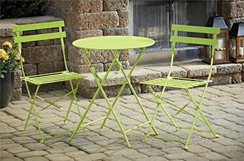 Cosco Outdoor Bistro Set, 3 Piece, Folding, Bright Green (French Furniture Style Outdoor Metal)