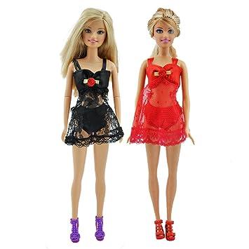 E-TING Vestido con ropa interior de encaje negro Y Rojo de tirantes de Barbie