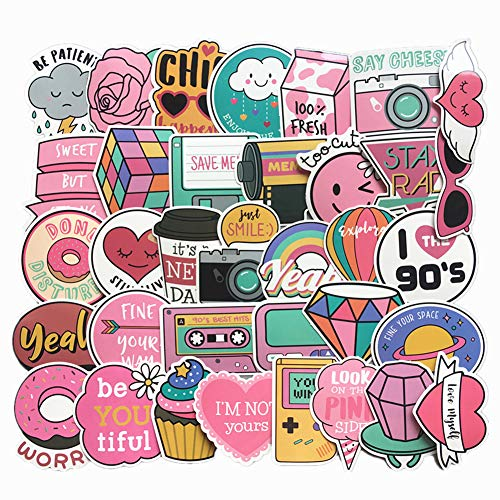 Jasion 60-Pcs Vinyl Stickers Waterproof Pink Cute Girls Cartoon Graffiti Decals for Cars Motorcycle Skateboard Portable Luggages Ipad Laptops