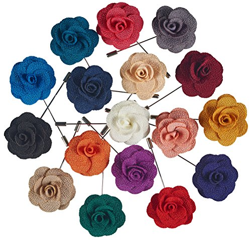 Pointed Designs Men's Lapel Pins with Flower, Assorted Colors, 12 Piece