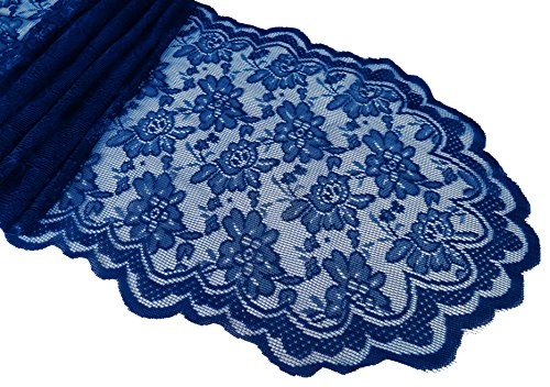 Goldstream Point Navy Blue 108 Inch x 13.5 Inch Lace Table Runner Wedding Extra Long Roll ()