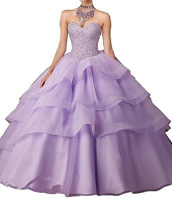 DengFeng Womens Vestido De Evening Pageant Beading Party Quinceanera Dresses ...