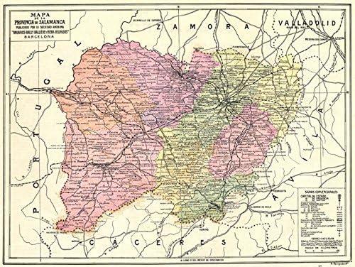 España. Mapa de la Provincia de Salamanca – 1913 – Old Antiguo Mapa Vintage – Mapas de Impreso de España: Amazon.es: Hogar