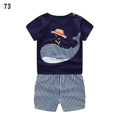 01f7b5ae0a25dc Amazon.com: Sanmubo Boys Clothes Set Cotton Striped Whale Bib Short Sleeve T  Shirt Shorts Children's Sports Suit: Home & Kitchen