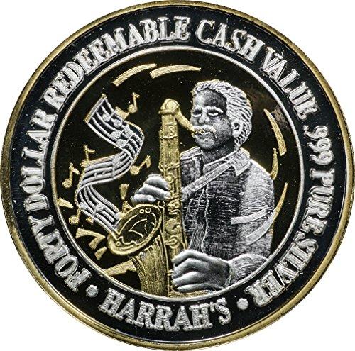 1995 (ND) Harrah's Las Vegas $40 Silver Casino Strike w/ 24k H.G.E., Jazz Player, 1.5 oz