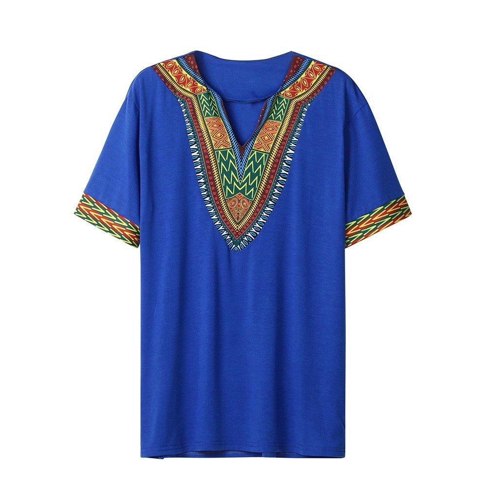 Winsummer Men Dashiki Shirts African Print Summer Short Sleeve Graphic Tops V Neck Fashion T-Shirt Tee Blue