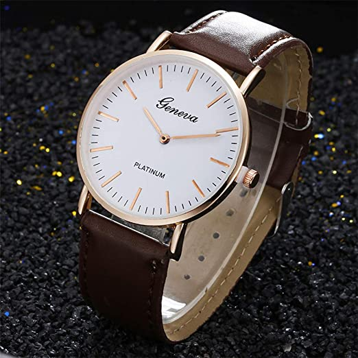 Amazon.com: Reloj de DAMA WoCoo Fashion Dress Analog Quartz Wrist Watch with Leather Band Watches Gifts (B): Kitchen & Dining