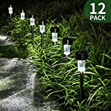 Solar Lights Outdoor,12-Pack, Solar Powered Pathway Light, Bright White,Landscape Light for Lawn/Patio/Yard/Walkway/Driveway (Stainless Steel)