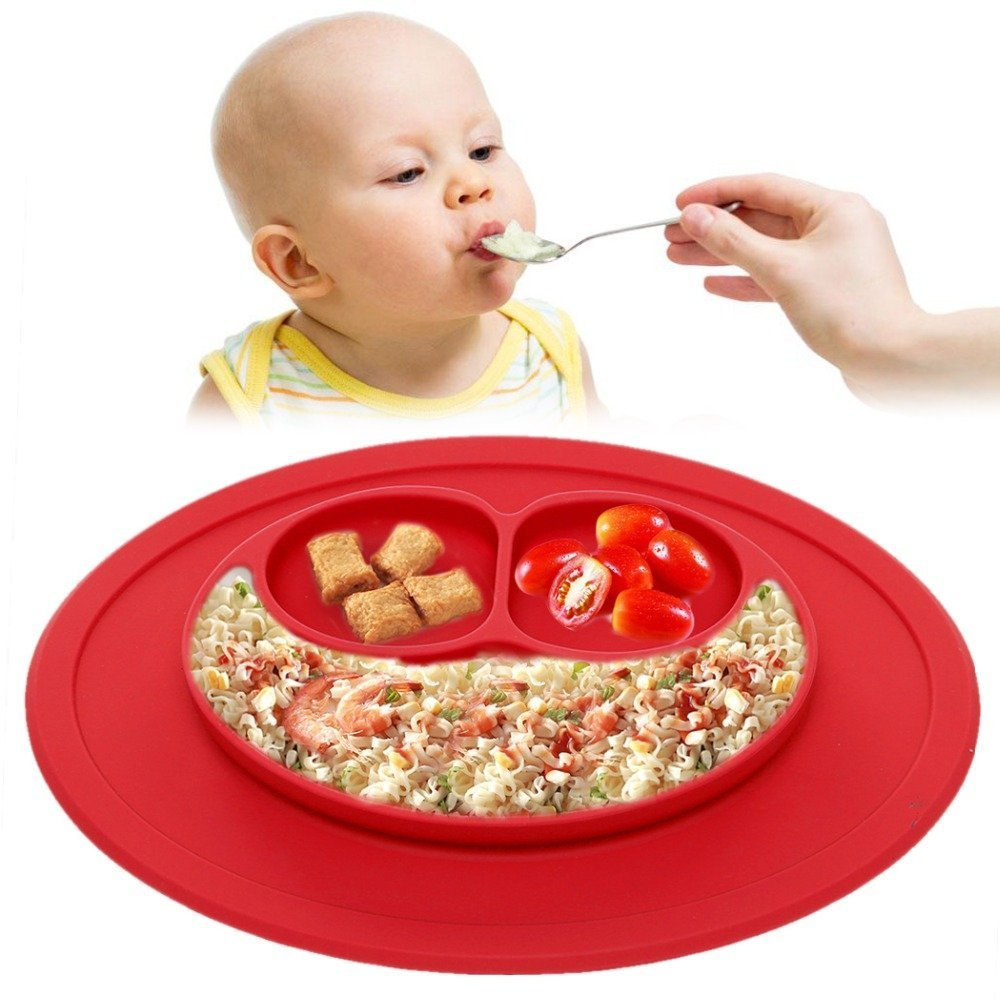 Baby Snack Mat Silicone Non Slip Happy Toddler Placemat Suction Table Plate Tray (Pink) HOVUK