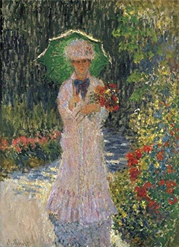 'Camille With Green Umbrella, 1876 By Claude Monet' Oil Painting, 10x14 Inch / 25x35 Cm ,printed On Perfect Effect Canvas ,this Vivid Art Decorative Prints On Canvas Is Perfectly Suitalbe For Powder Room Artwork And Home Decor And Gifts ()