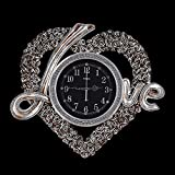 Quiet Living Room Decorative Wall Clock Warm Love Heart-Shaped Watch Trends Ideas Modern Bedroom Romantic Wedding Pendants,Silver