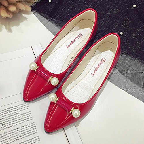 Byste Women Flat Point Toe Shoes,Ladies Loafer Casual Scrub Comfy Wearing Slip-On Boat Sandals Lightweight Office Work Safety Square Heel Pear Decoration Match Well With Your Pants/Skirts Red