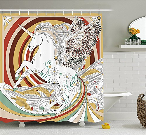 Unicorn Shower Curtain Set Pop Art Culture Graphic of Ancient Unicorn with Angel Wings on Spiral Backdrop Fabric Bathroom Decor with Hooks (Pop Culture Halloween Costume Ideas)