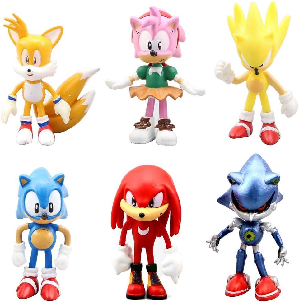 6 pcs Sonic Classic le Hérisson PVC ACTION FIGURE MODEL kids doll cake topper