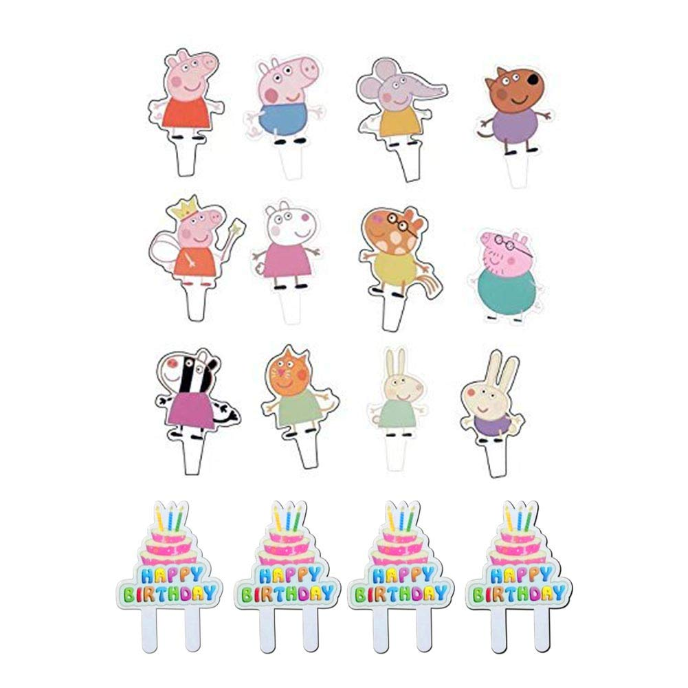 Amazon.com: 48pcs Peppa Pig Cupcake Toppers parte decorativo ...