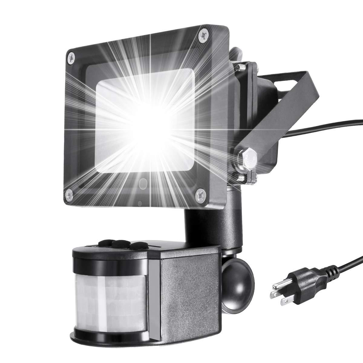 Warmoon LED Motion Sensor Flood Light 10W Outdoor IP65 Waterproof 6500K Daylight White Security Wall lighting With Sensitive Detector