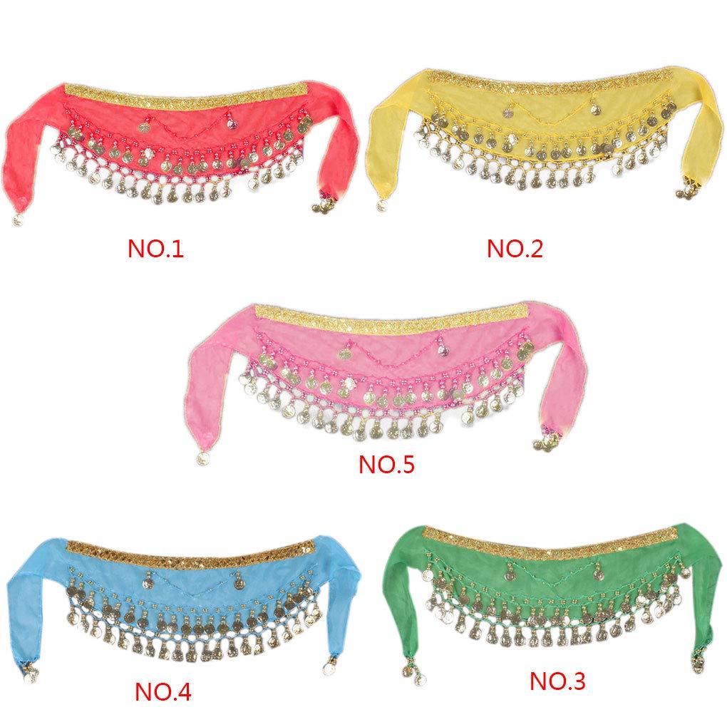 Bobury Kids 2-Pieces Chiffon Arabic Belly Dance Scarf Children Coin Belt Hip Scarf Skirt Wrap Strap