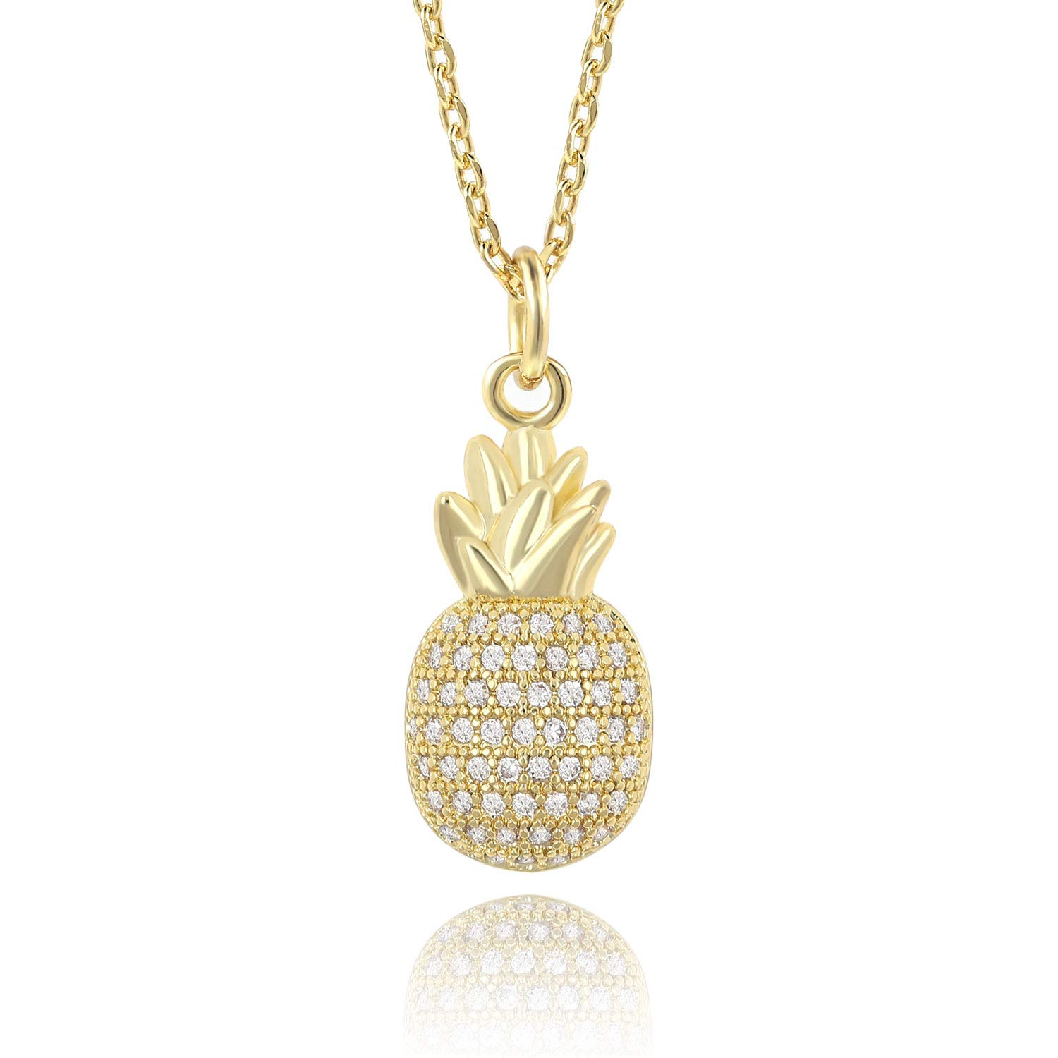 Ash's Choice CZ Paved Bling Pineapple Fruit Pendant AAA Quality 14K Gold Charm Necklace 16+2'' Extender